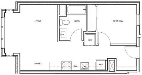 1 Bed / 1 Bath / 606 sq ft / Deposit: $400