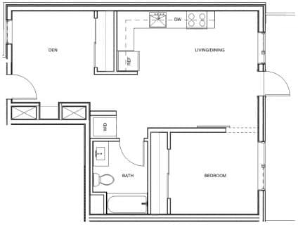 1 Bed / 1 Bath / 704 sq ft / Deposit: $400