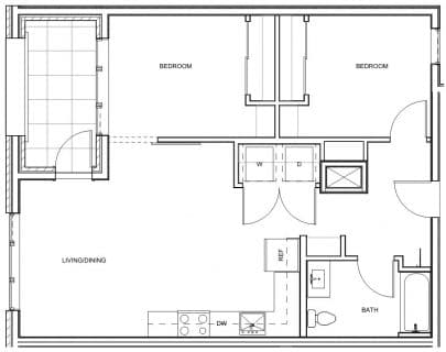 2 Bed / 1 Bath / 878 sq ft / Deposit: $400