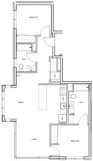 2 Bed / 2 Bath / 1,047 sq ft / Deposit: $400