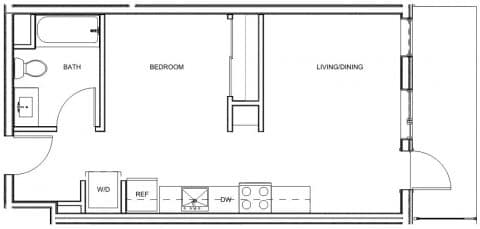 Studio / 1 Bath / 521 sq ft / Deposit: $400